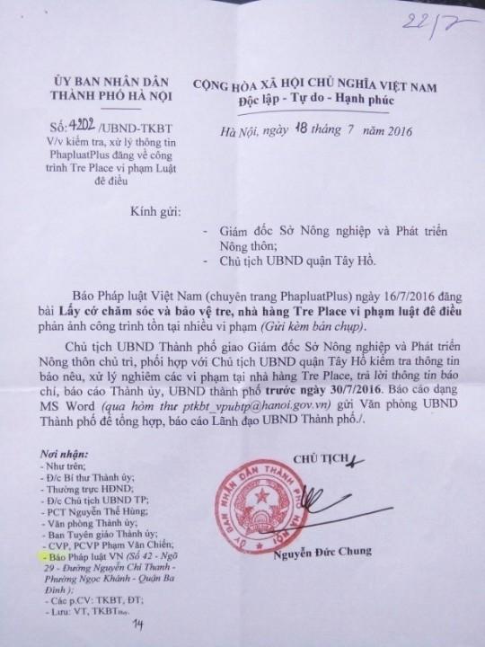 Văn bản chỉ đạo của UBND TP Hà Nội.