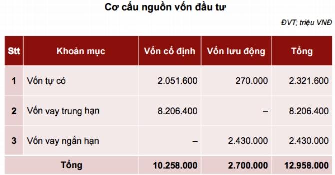 Cơ cấu nguồn vốn đầu tư phân kỳ 1, giai đoạn 1 dự án thép Hoa Sen Cà Ná-Ninh Thuận. Đồ họa Nguyên Thảo.