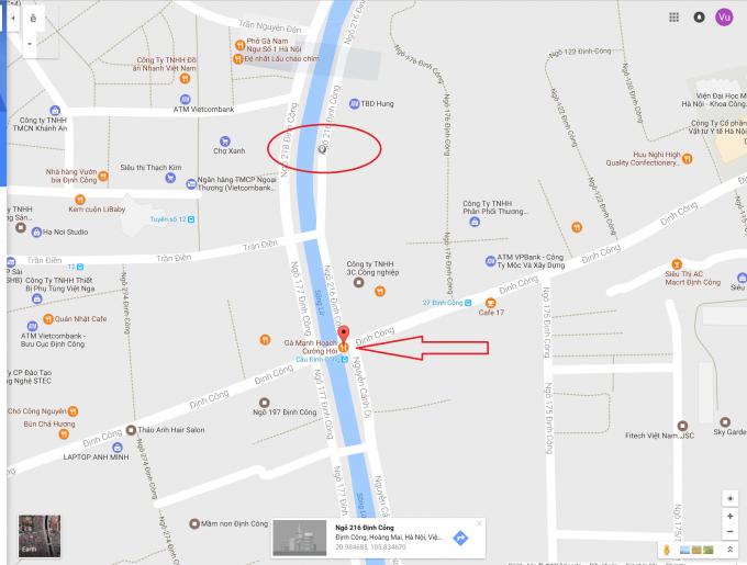 Vòng tròn đỏ là vị trí ngôi nhà.