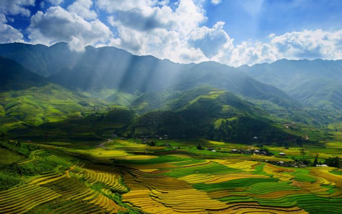 Ruộng bậc thang ở Mù Cang Chải, Yên Bái.