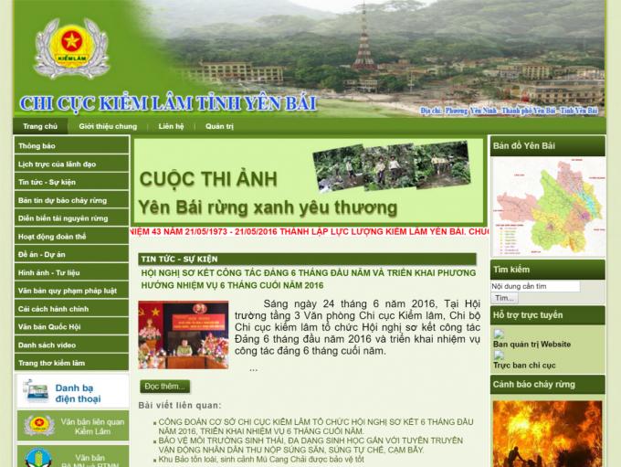 Giao diện web của Chi cục kiểm lâm tỉnh Yên Bái. Ảnh chụp màn hình.