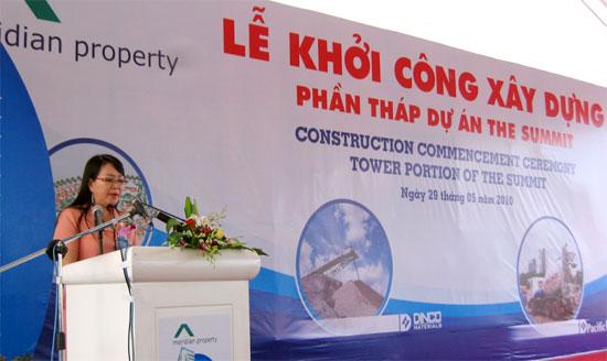 Ngày 29/5/2010, bà Vũ Thị Ngọc – Phó Chủ tịch HĐQT Meridian Property phát biểu tại lễ khởi công dự án The Summit. Ảnh dddn.com.vn