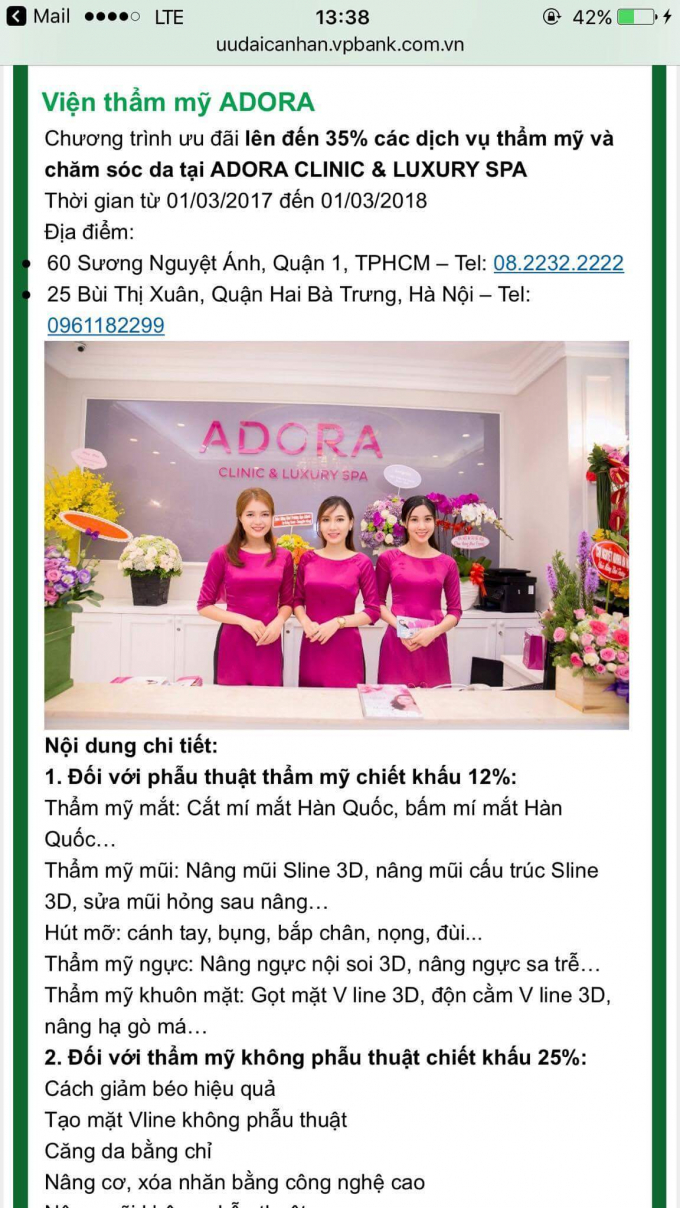Cơ sở thẩm mỹ Adora quảng cáo thẩm mỹ ngực, nâng ngực trên nhiều phương tiện thông tin.