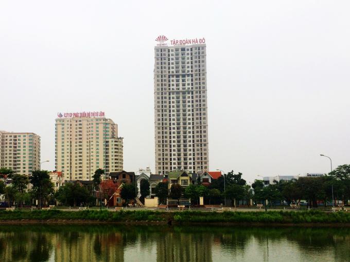 Biển hiệu Tập đoàn Hà Đô tại Khu đô thị mới Dịch Vọng do Lideco làm chủ đầu tư.