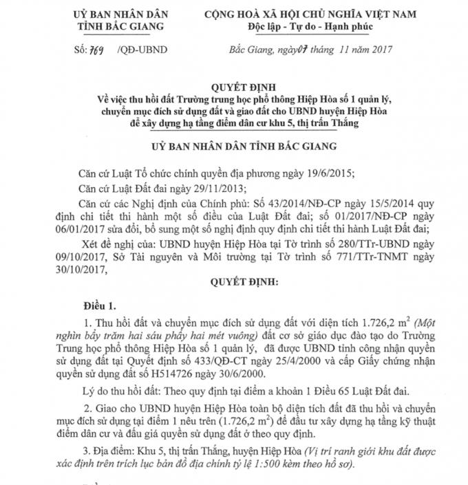 Quyết định thu hồi đất trường THPT Hiệp Hòa số 1