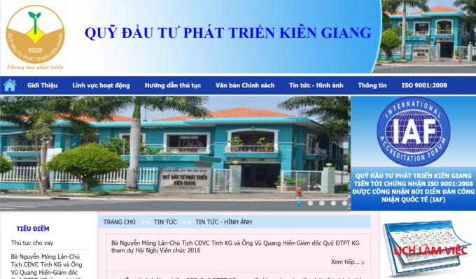Trang web củaQuỹ đầu tư phát triển tỉnh Kiên Giang.