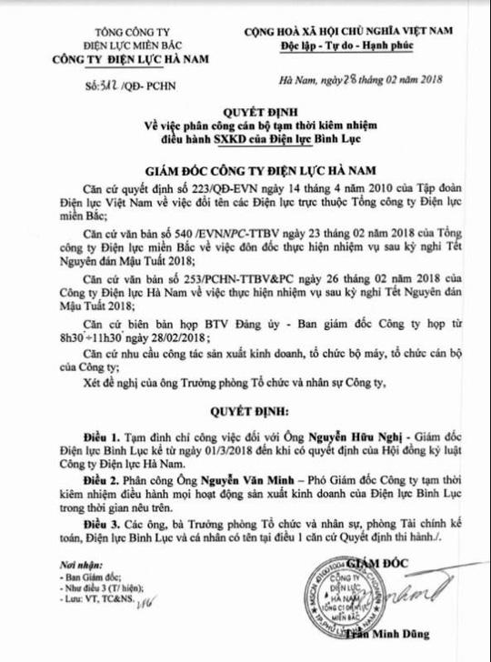 Văn bản xử lý của Giám đốc EVN Hà Nam.