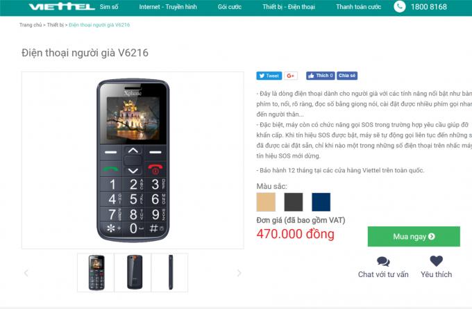 Mẫu điện thoại người già ký hiệu V6216 giống với mã số điện thoại mà UBND tỉnh Ninh Bình ra quyết định xử phạt đang được trang web của Viettel báo giá là 470.000 đồng.