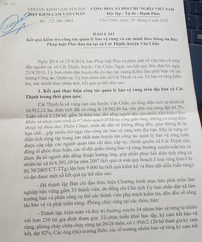Văn bản của Hạt kiểm lâm huyện Văn Chấn gửi tới Pháp luật Plus