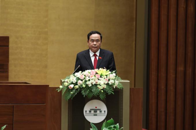 Chủ tịch Ủy ban Trung ương MTTQ Việt Nam Trần Thanh Mẫntrình bày Báo cáo tổng hợp ý kiến, kiến nghị của cử tri và nhân dân. Ảnh VGP/Nhật Bắc