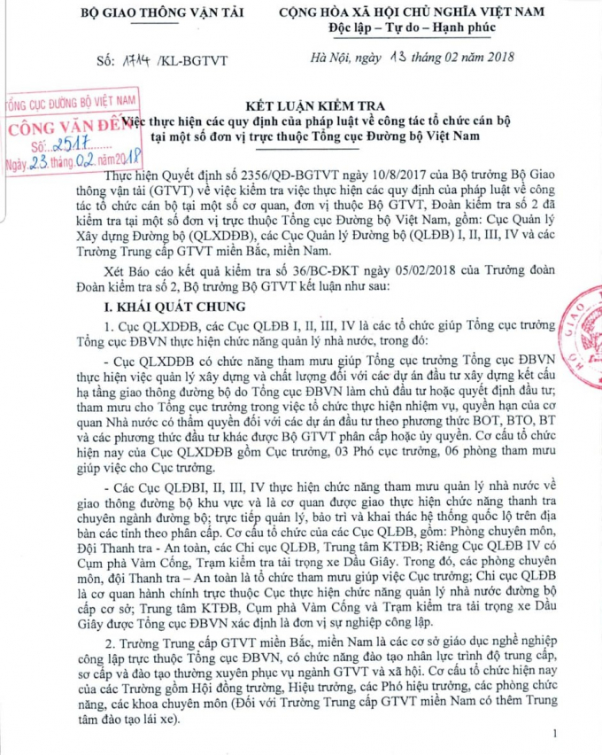 """Nhiều """"khoảng tối"""" trong bổ nhiệm nhân sự ở Tổng cục Đường bộ Việt Nam"""