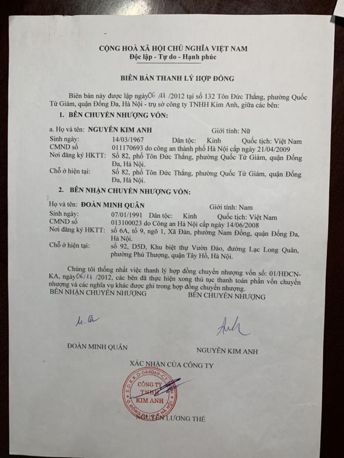 Biên bản thanh lý hợp đồng được thành lập ngày 6/11/2012.