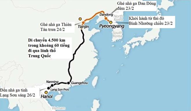Lộ trình di chuyển của đoàn tàu bọc thép chở lãnh đạo Triều Tiên. Đồ họa:Arirang.