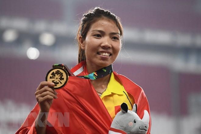 Vận động viên Bùi Thị Thu Thảo của Việt Nam giành huy chương vàng nội dung nhảy xa nữ tại ASIAD 2018, Jakarta, Indonesia ngày 27/8. Ảnh VietnamPlus