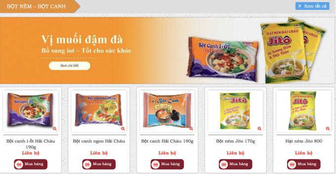 Trên trang web của Công ty cổ phần bánh kẹo Hải Châu, có giới thiệu khá nhiều loại Bột canh i-ốt Hải Châu. Ảnh chụp màn hình.