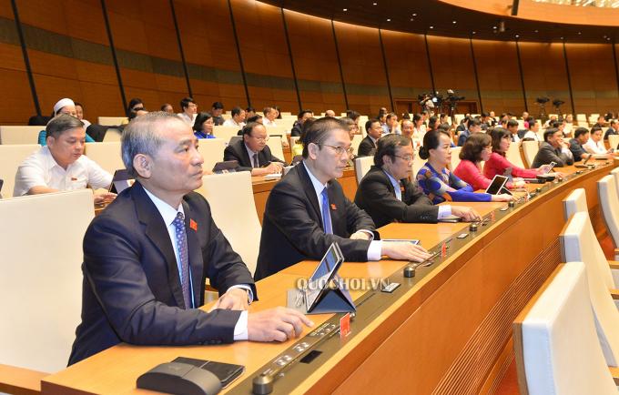 Các đại biểu Quốc hội tham gia biểu quyết
