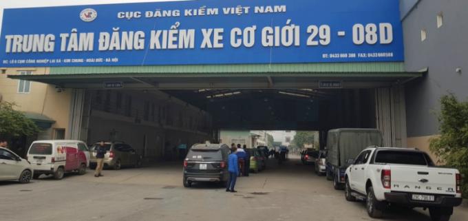Trung tâm đăng kiểm xe cơ giới 2908D có địa chỉ tại Lô 6, Cụm công nghiệp Lai Xá, (Kim Chung, Hoài Đức, Hà Nội)