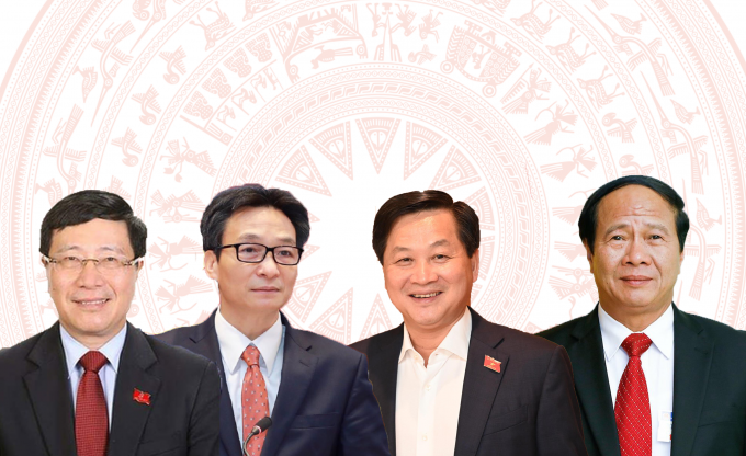 Các Phó Thủ tướng (từ trái sang) Phạm Bình Minh, Vũ Đức Đam, Lê Minh Khái,Lê Văn Thành.