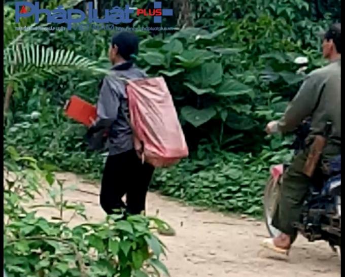 Người dân tiếp tục ôm cưa xăng, gùi dụng cụ khai thác vào rừng.