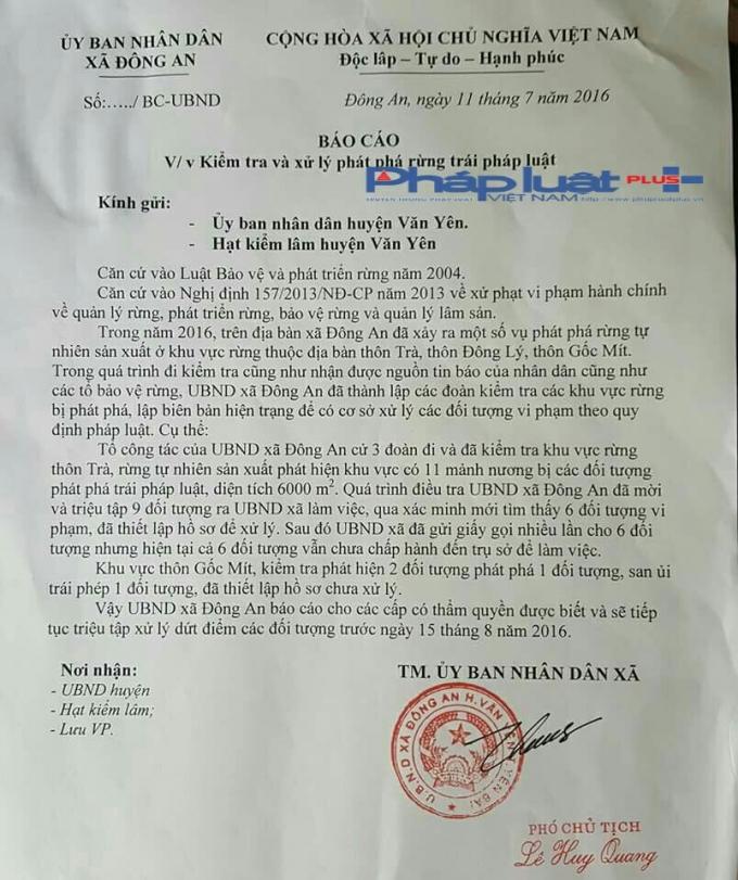 Báo cáo của UBND xã Đông An gửi UBND huyện Văn Yên và Kiểm lâm huyện đề ngày 11/7/2016.