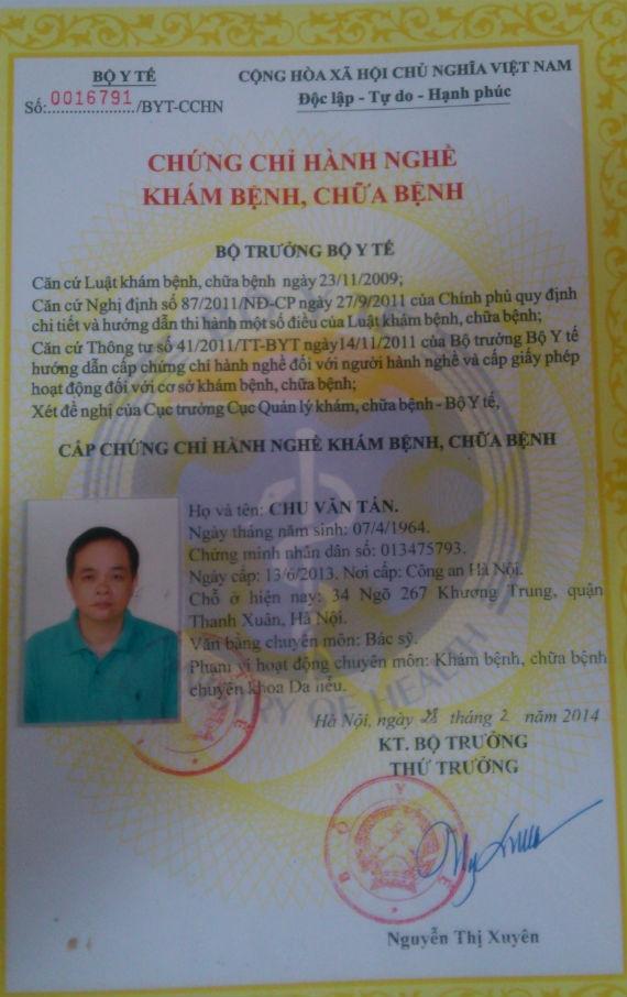 Chứng chỉ hành nghề khám, chữa bệnh của ông Chu Văn Tấn