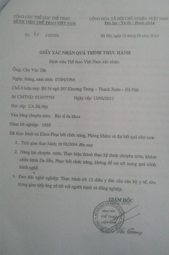 Giấy xác nhận quá trình thực hành mà BV Thể thao Việt Nam cấp cho ông Chu Văn Tấn.
