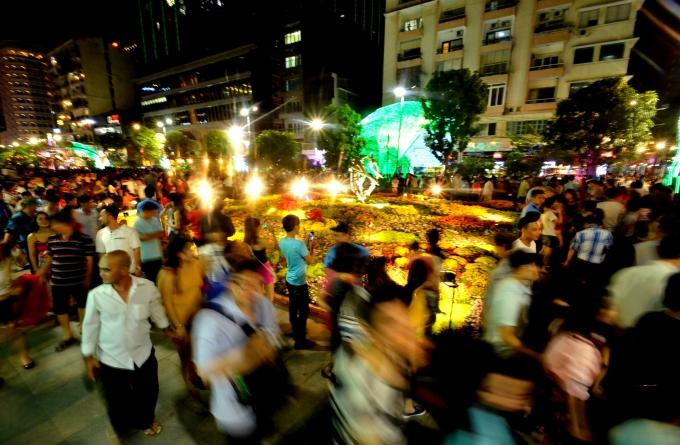Rất đông người dân tìm đến thưởng lãm đường hoa.