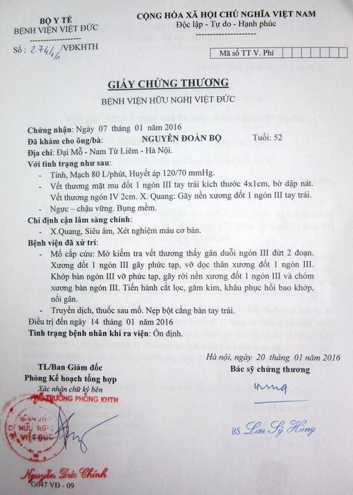 Giấy chứng thương của bệnh viện nơi ông Nguyễn Đoàn Bộ được điều trị.