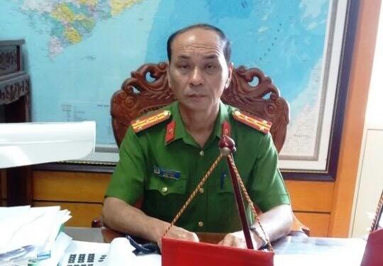 Đại tá Trần Quốc Sáng đang trao đổi với PV Pháp luật plus.