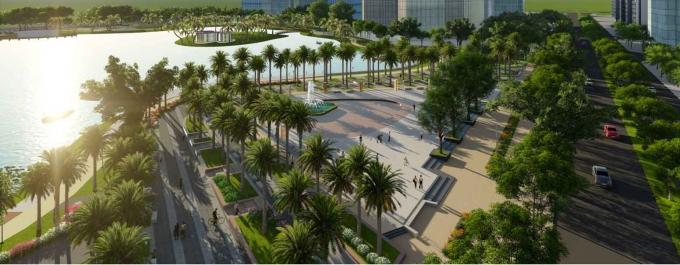 Công viên được thiết kế theo phong cách sân golf cao cấp, tạo nên điểm nhấn sang trọng nhưng gần gũi với môi trường, cảnh quan.