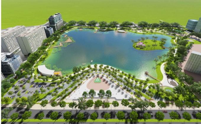 Phối cảnh công viên hồ điều hòa Phùng Khoang.