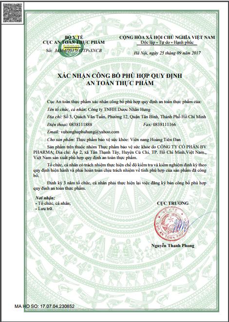 Giấy xác nhận công bố phù hợp quy định an toàn thực phẩm của thực phẩm chức năng Hoàng Tiên Đan.
