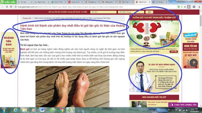 Trang web đăng nhiều bài viết dễ gây hiểu nhầm cho khách hàng đây là thuốc chữa bệnh.