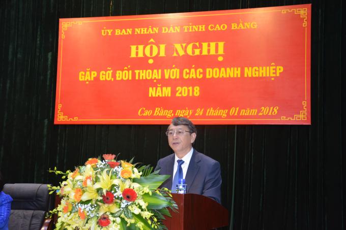 Ông Hoàng Xuân Ánh, Phó Bí thư Tỉnh ủy, Chủ tịch UBND tỉnh Cao Bằng phát iểu tại Hội nghị.