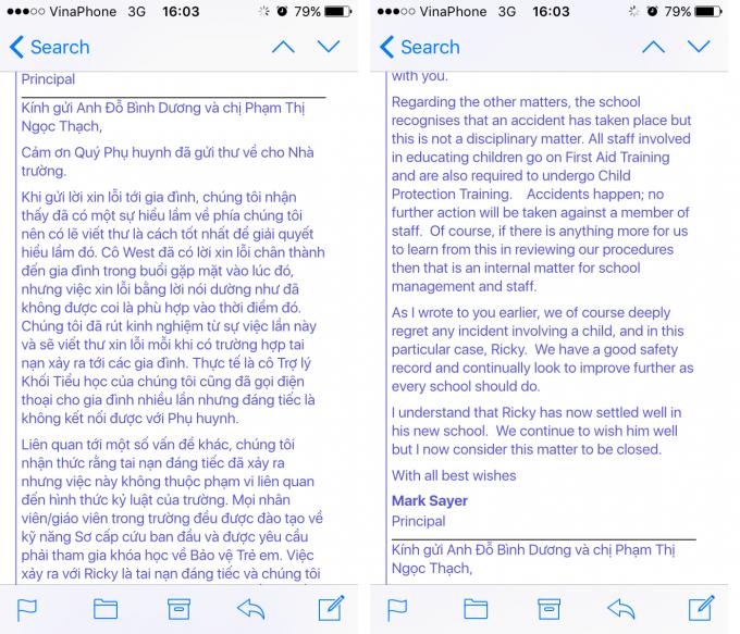 Thư xin lỗi của hiệu trưởng Trường BVIS gửi cho gia đình qua email.