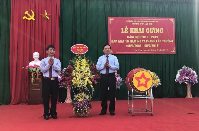Đồng chí Triệu Đình Lê, Phó Bí thư Thường trực tỉnh ủy Cao Bằng đã dự lễ Khai giảng tại trường THPT Lục Khu, Hà Quảng, Cao Bằng.