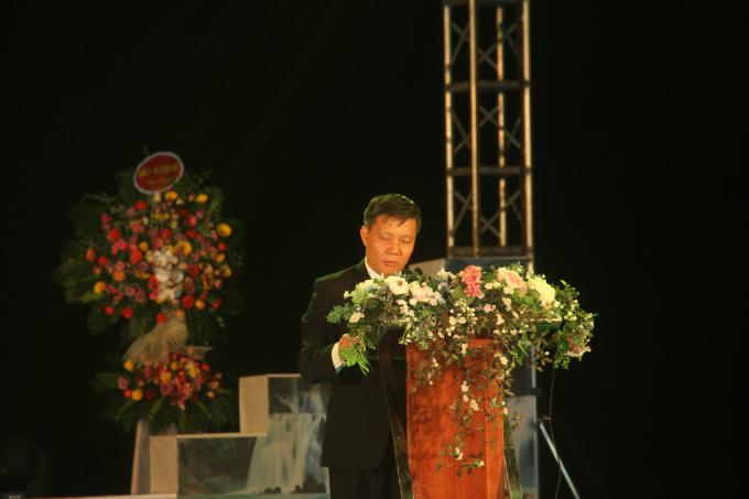 Ông Phạm Văn Cao, Bí thư Huyện ủy Trùng Khánh, Cao Bằng phát biểu tại Lễ Khai mạc.