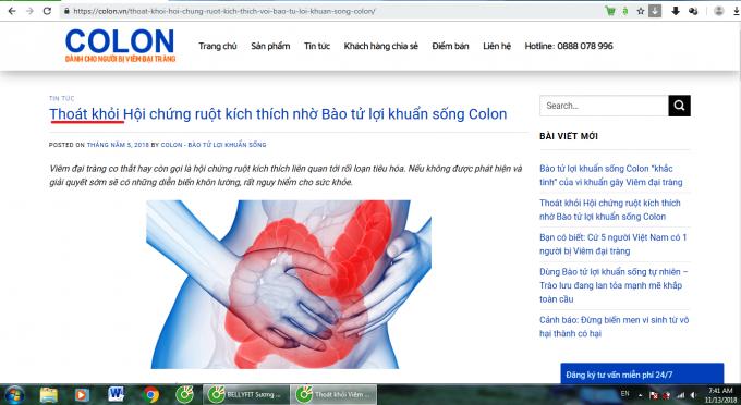 Thực phẩm phẩm chức năng Colon có đang được tung hô như thuốc chữa bệnh đại tràng?