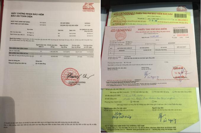 Hợp đồng của tham gia bảo hiểm của chị Sử Ngọc Ly (trái) và phiếu thu phí bảo hiểm của Đặng Việt Hùng sau khi thu tiền của khách hàng.