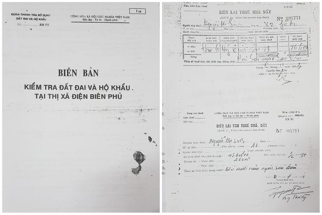 Biên lai thu thuế nhà đất của bà Sinh từ năm 1993.