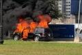 [Clip]: Mercedes GLS bất ngờ bốc cháy dữ dội tại Gia Lâm, Hà Nội