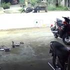 Xe máy tông vào xe 'công nông' khi đang sang đường