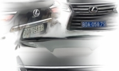 Xe sang Lexus đuôi đeo biển trắng, đầu treo biển xanh 80A tại sân chùa Tam Chúc