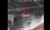 Clip: Ngỡ ngàng chứng kiến cảnh nam thanh niên cởi trần hò hét dưới sông Kim Ngưu