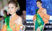 Hoa hậu Khánh Ngân khoe dáng thon, chân dài với đầm dạ hội thổ cẩm