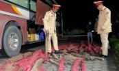 Bắt giữ xe khách chở 17 cột và 24 thanh gỗ trắc từ Gia Lai ra Hà Nội