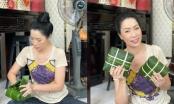 Trịnh Kim Chi và gia đình gói bánh chưng đón Tết
