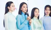 Đỗ Mỹ Linh, Tiểu Vy, Đỗ Thị Hà diện áo dài nền nã trong ngày lên chức Chủ tịch
