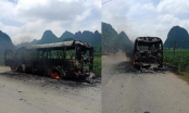 Cao Bằng: Xe bus bất ngờ bốc cháy trơ khung khi đang di chuyển trên đường