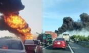 Cháy xe chở xăng dầu trên cao tốc Hải Phòng – Hà Nội